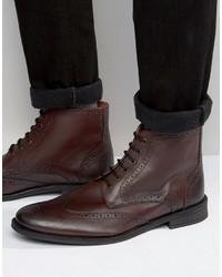 dunkelrote Brogue Stiefel aus Leder von Lambretta