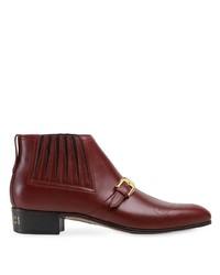 dunkelrote Chelsea Boots aus Leder von Gucci