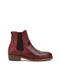 dunkelrote Chelsea-Stiefel aus Leder von Ajmone