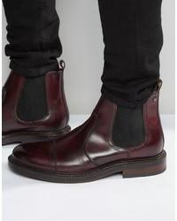 dunkelrote Chelsea-Stiefel aus Leder von Base London