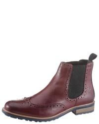 dunkelrote Chelsea-Stiefel aus Leder von BRUNO BANANI