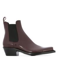 dunkelrote Chelsea-Stiefel aus Leder von Calvin Klein 205W39nyc
