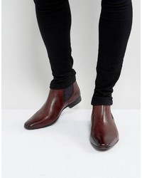 dunkelrote Chelsea-Stiefel aus Leder