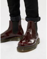 dunkelrote Chelsea-Stiefel aus Leder von Dr. Martens