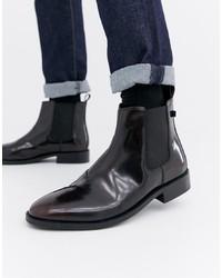 dunkelrote Chelsea-Stiefel aus Leder von Farah
