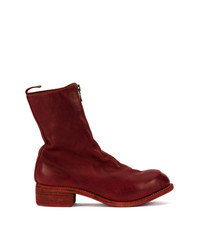 dunkelrote Chelsea-Stiefel aus Leder von Guidi