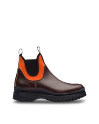 dunkelrote Chelsea-Stiefel aus Leder von Prada