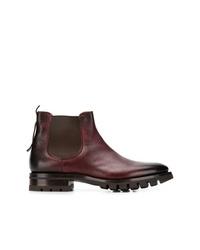 dunkelrote Chelsea-Stiefel aus Leder von Santoni