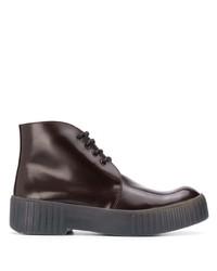 dunkelrote Chukka-Stiefel aus Leder von Acne Studios