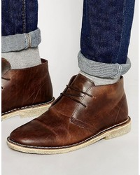 dunkelrote Chukka-Stiefel aus Leder von Asos