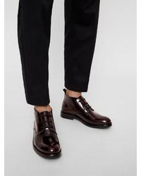 dunkelrote Chukka-Stiefel aus Leder von Bianco