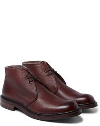 dunkelrote Chukka-Stiefel aus Leder von Cheaney