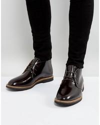 dunkelrote Chukka-Stiefel aus Leder von Farah
