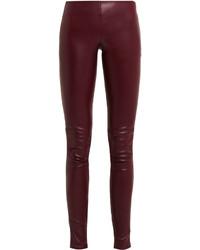 dunkelrote enge Hose aus Leder von Balenciaga