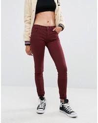 dunkelrote enge Jeans von Pull&Bear