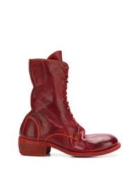 dunkelrote flache Stiefel mit einer Schnürung aus Leder von Guidi