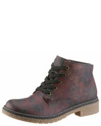 dunkelrote flache Stiefel mit einer Schnürung aus Leder von Rieker
