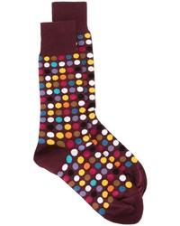 dunkelrote gepunktete Socken von Paul Smith