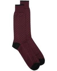dunkelrote gepunktete Socken von Dolce & Gabbana