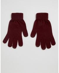 dunkelrote Handschuhe von ASOS DESIGN