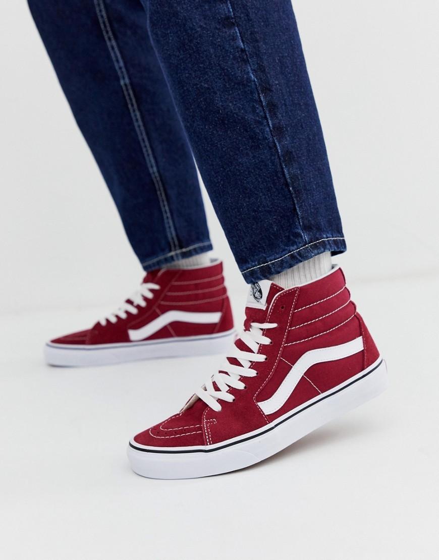dunkelrote hohe Sneakers von Vans