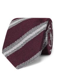 dunkelrote horizontal gestreifte Krawatte von Brioni