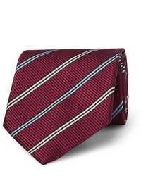 dunkelrote horizontal gestreifte Krawatte von Ermenegildo Zegna