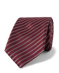 dunkelrote horizontal gestreifte Krawatte von Giorgio Armani