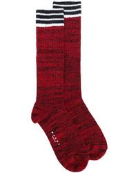 dunkelrote horizontal gestreifte Socken von Marni