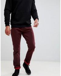 dunkelrote Jeans von Weekday