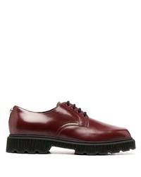 dunkelrote klobige Leder Derby Schuhe von Gucci