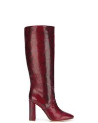 dunkelrote kniehohe Stiefel aus Leder mit Schlangenmuster von Twin-Set