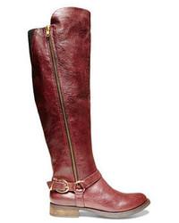 dunkelrote kniehohe Stiefel aus Leder