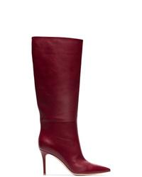 dunkelrote kniehohe Stiefel aus Leder von Gianvito Rossi