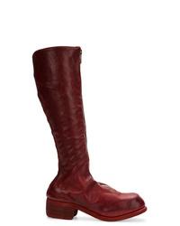 dunkelrote kniehohe Stiefel aus Leder von Guidi