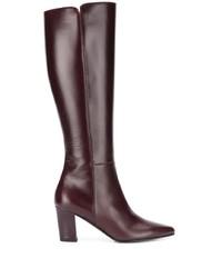 dunkelrote kniehohe Stiefel aus Leder von Michel Vivien