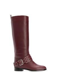 dunkelrote kniehohe Stiefel aus Leder von RED Valentino