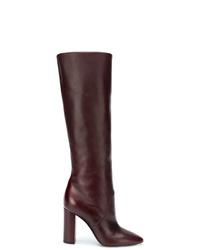 dunkelrote kniehohe Stiefel aus Leder von Saint Laurent