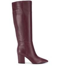 dunkelrote kniehohe Stiefel aus Leder von Sergio Rossi
