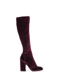dunkelrote kniehohe Stiefel aus Samt von Laurence Dacade