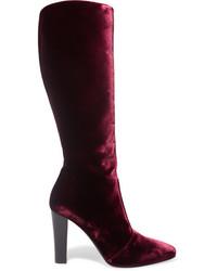 dunkelrote kniehohe Stiefel aus Samt von Saint Laurent