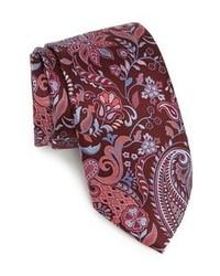 dunkelrote Krawatte mit Blumenmuster