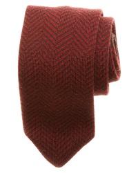 dunkelrote Krawatte mit Fischgrätenmuster