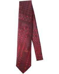 dunkelrote Krawatte mit Schottenmuster