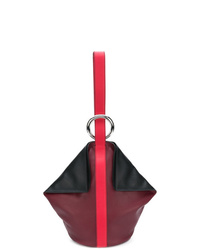 dunkelrote Leder Beuteltasche von Alexander McQueen