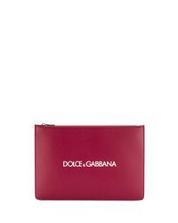 dunkelrote Leder Clutch Handtasche von Dolce & Gabbana