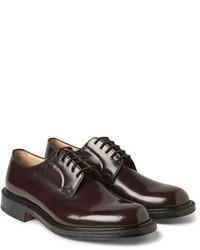 dunkelrote Leder Derby Schuhe