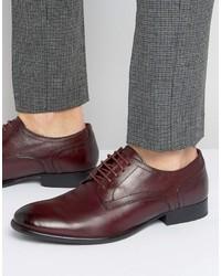 dunkelrote Leder Derby Schuhe von Base London