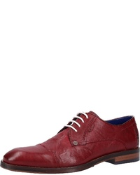 dunkelrote Leder Derby Schuhe von Bugatti