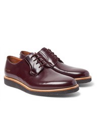 dunkelrote Leder Derby Schuhe von Common Projects